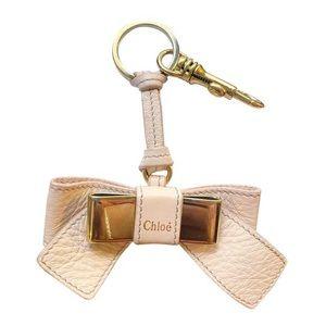 Auth. Chloe Rare Cream / Blush Lily Bow Bag Charm